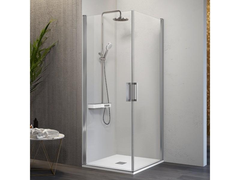 Paroi de douche accès en angle 2 portes pivotantes nardi 75 x 60 cm
