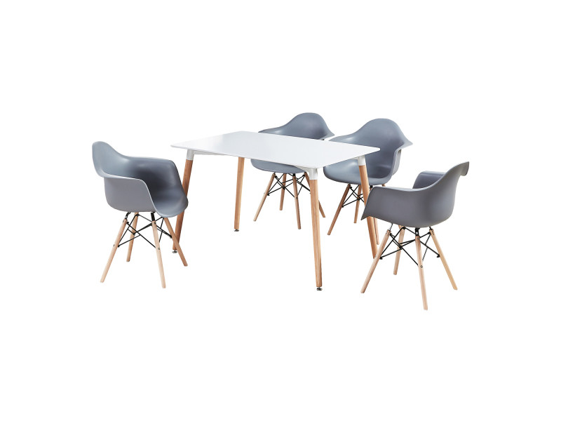 chaises scandinaves coloris blanc Ensemble table 4 et n80mOvNw