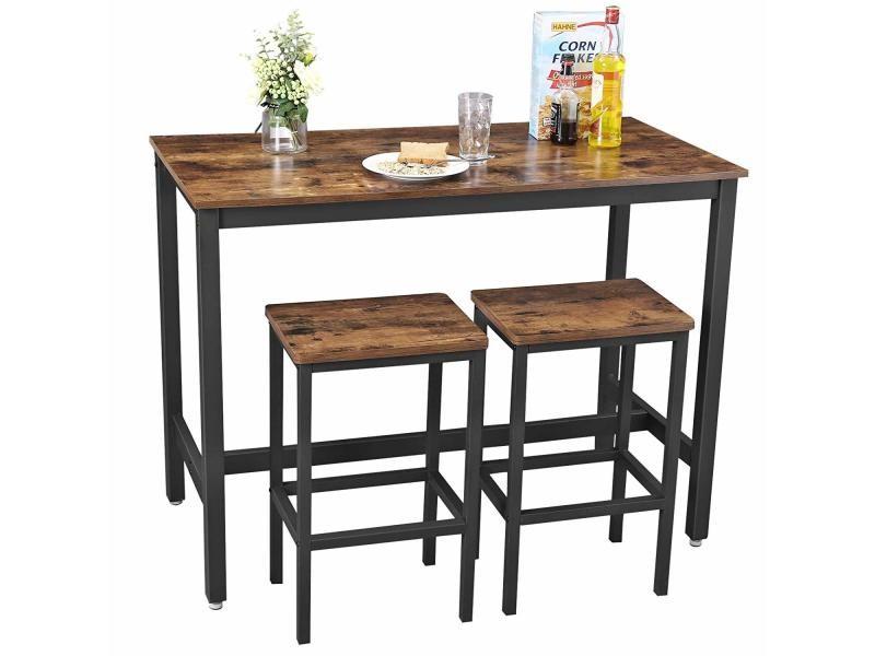 Lot table et chaises de bar, table haute avec 2 tabourets de ...