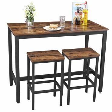 Lot table et chaises de bar table haute avec 2 tabourets - Table haute avec tabouret pour cuisine ...
