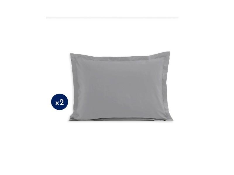 Lot de 2 taies d'oreiller - rectangulaire 50x70 cm - coton - gris clair 61344