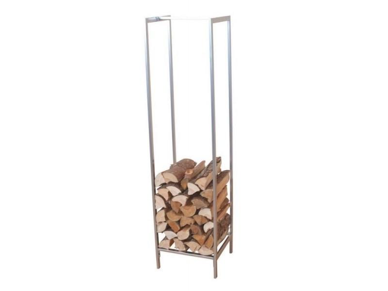 Range-bûches / étagère pour bois en métal gris argent 140 cm dec05055