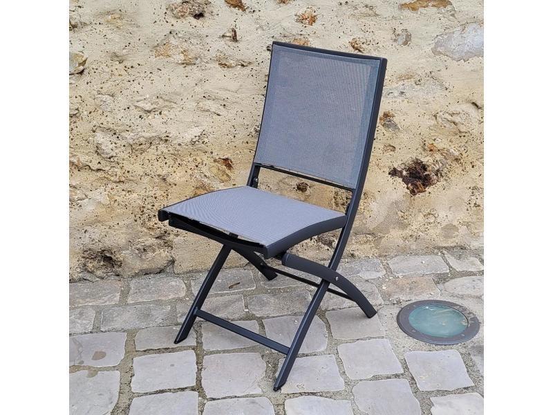 Chaise pliante alu anthracite textilène gris cassini