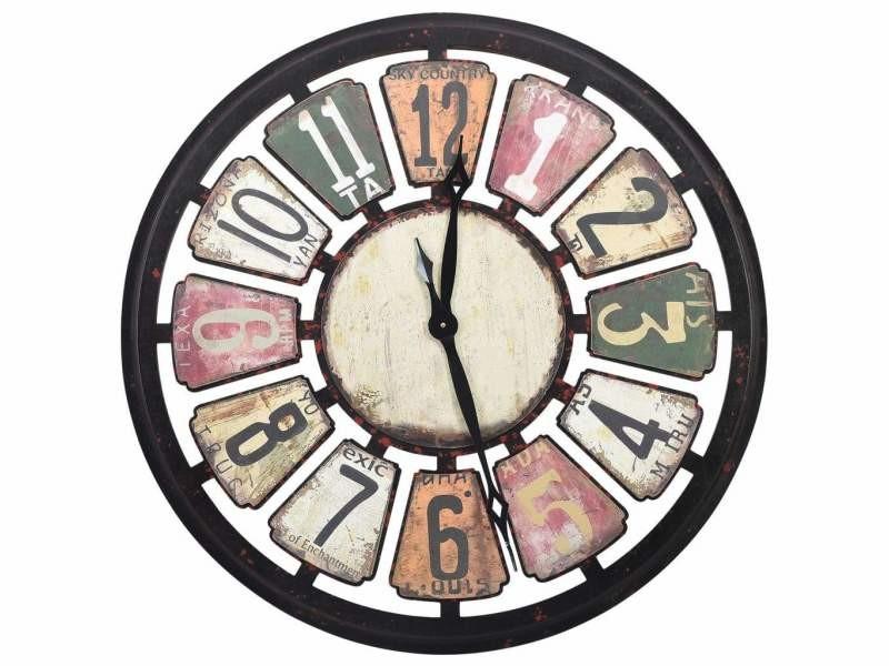 Horloge murale multicolore 80 cm mdf dec022233