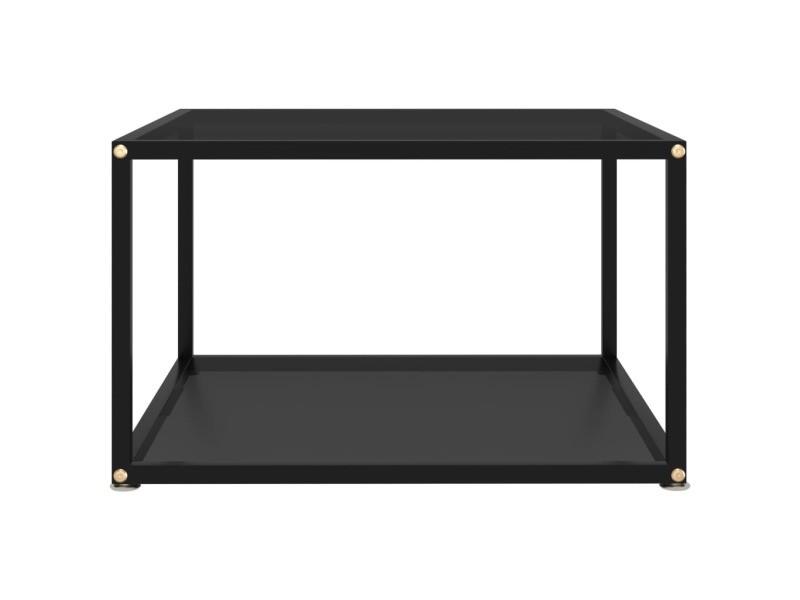 Vidaxl table à thé noir 60x60x35 cm verre trempé 322888