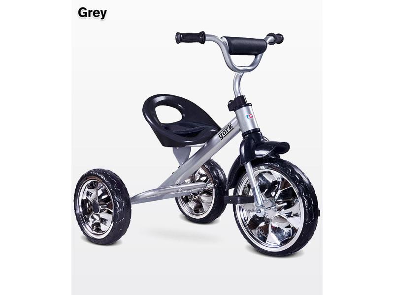 Lork - tricycle bébé enfant - dès 3 ans - cadre en acier - 3 roues en mousse - jusqu'à 25 kg - pédales anti-dérapantes - - gris