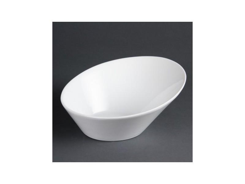 Bols ovales inclinés blancs olympia - lot de 3 - 0 cm porcelaine 0 cl
