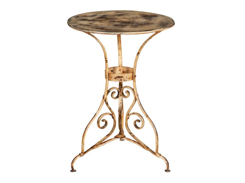 Table ronde en finition crème antique en fer forgé