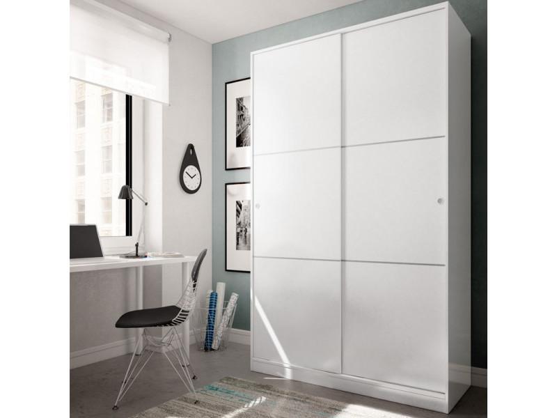 Armoire coulissante 2 portes blanc - rafu - l 120 x l 50 x h 200 cm