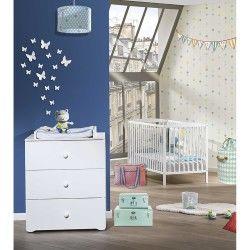 Chambre duo lit bébé à barreaux blanc 120x60 - commode à langer basic babyprice