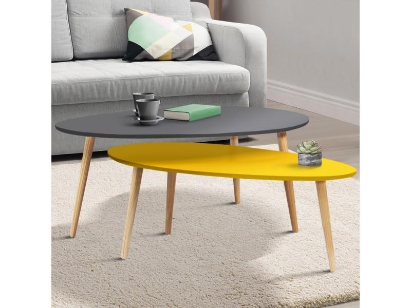 Lot de 2 tables basses gigognes laquées gris jaune scandinave