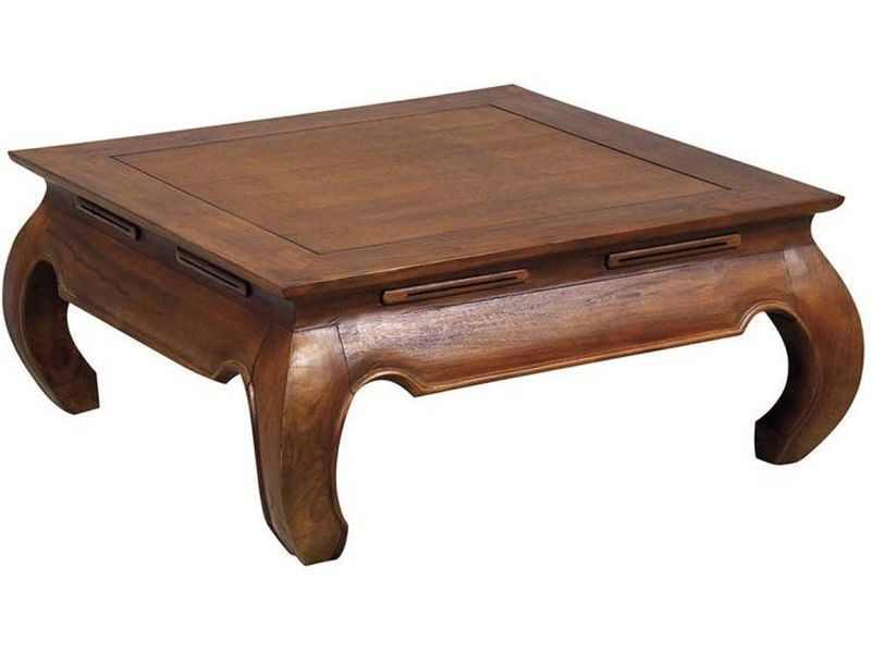 Table basse exotique en teck massif opium taille 2
