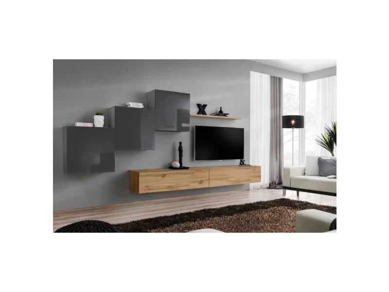 Ensemble mural - switch x - 3 vitrines carrées - 2 bancs tv - 1 étagère - bois et graphite - modèle 2
