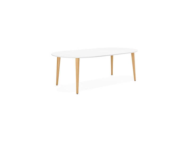 Table à manger extensible 120/220 cm blanc et naturel - baltic