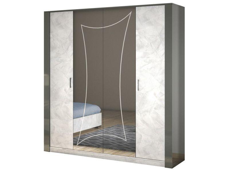 Ombeline - armoire 4 portes avec miroir central