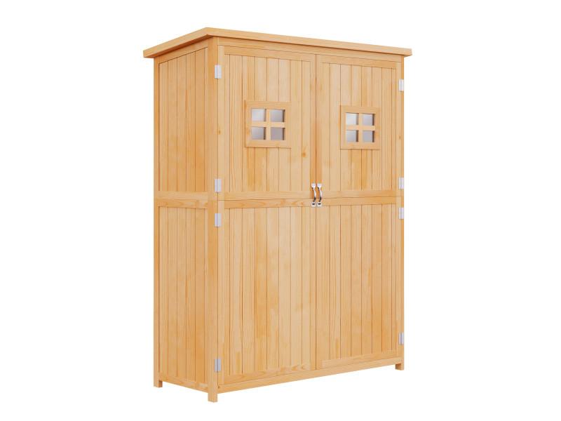 Abri de jardin armoire de jardin remise pour outils sur pied dim. 128l x 50l x 164h cm 2 étagères 2 portes 2 fenêtres toit bitumé étanche bois massif pin pré-huilé