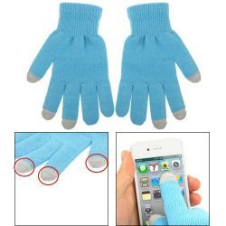 Gants tactiles pour smartphones tablettes bleu 3 doigts