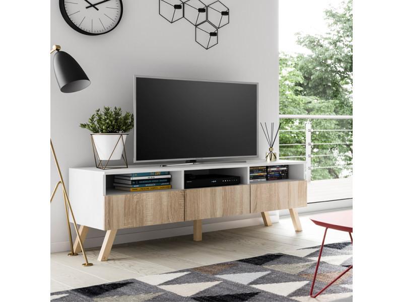 Meuble tv - lavello bois avec led - 150 cm - blanc mat / effet chêne ...