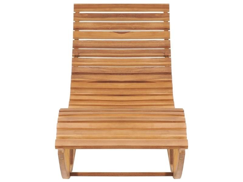 Vidaxl chaise longue à bascule bois de teck solide 49390