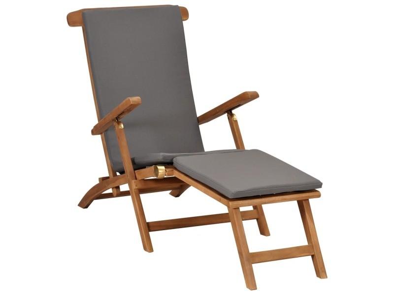 Admirable sièges de jardin serie dacca chaise longue avec coussin gris foncé bois de teck solide