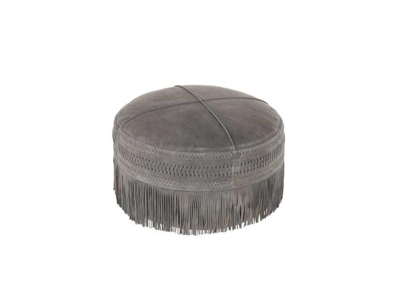 Pouf rond à franges cuir gris foncé - janina - l 52 x l 52 x h 40 - neuf