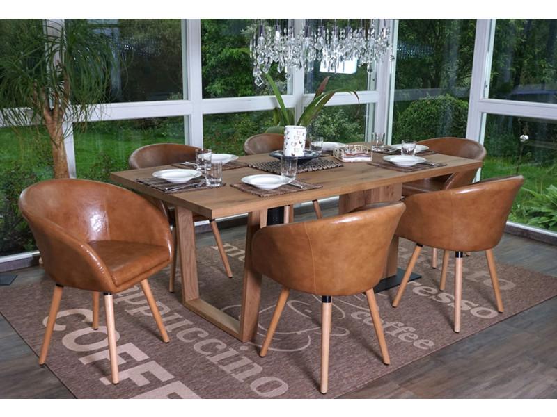 Lot de 6 chaises de salle à manger en faux cuir - dim : h 80 x l 61 x p 56 cm -pegane-