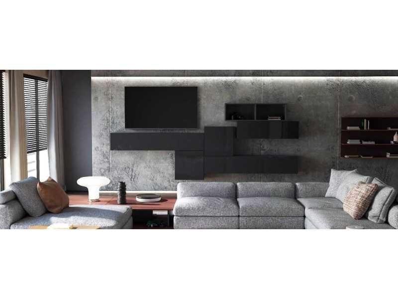 Ensemble de meubles de salon suspendus noirs