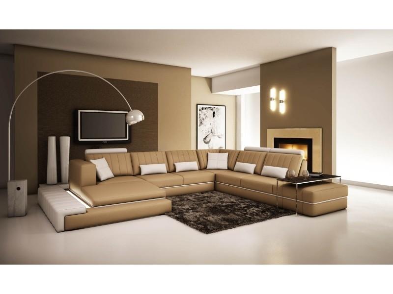 Canapé d'angle panoramique cuir marron et blanc castle-