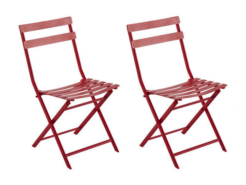 Lot de 2 chaises de jardin métal pliante greensboro groseille - hesperide