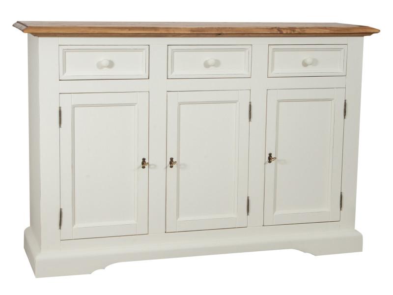 Placard shabby-country chic en bois massif de tilleul structure artisanale blanc antique plan finition naturel l156xpr45xh103