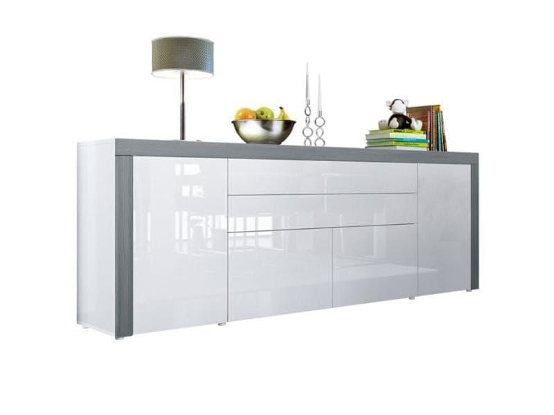 Buffet blanc haute brillance / avola-anthracite 200 cm