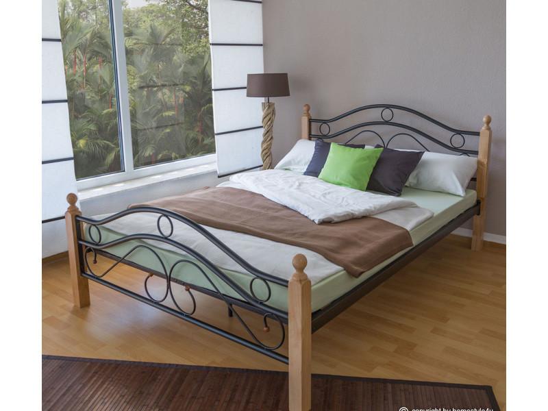 Lit design en métal noir et bois naturel, 180 x 200 cm -pegane-