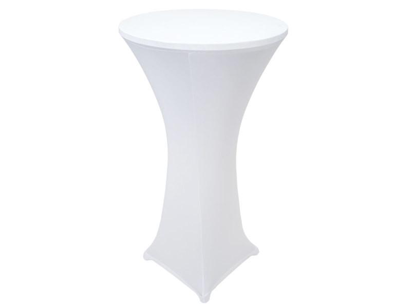 Table mange-debout en aluminium, table de bistro avec housse ~ blanc
