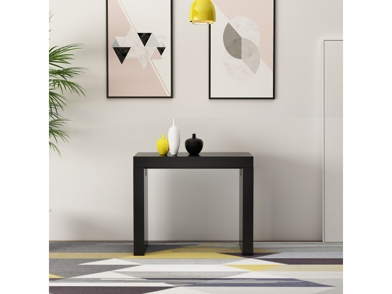 Table console extensible 250 cm laqué noir zehra - 2 à 10 personnes