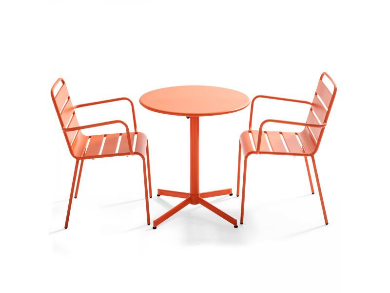 Table de jardin ronde bistrot rabattable en métal ⌀70cm et 2 fauteuils palavas 2 places acier orange