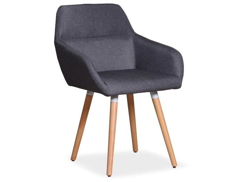 Chaise Fauteuil Scandinave Frida Tissu Gris Fonce