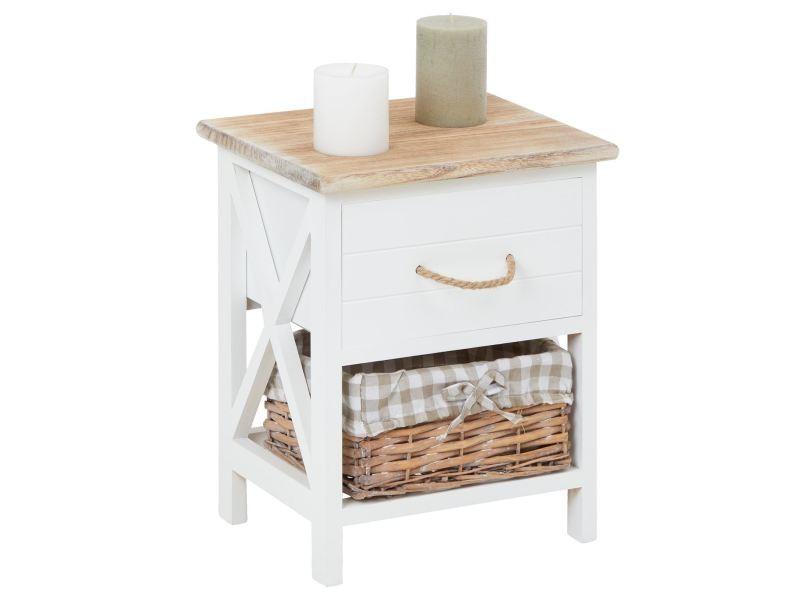 table de chevet perugia table de nuit 1 tiroir et 1 panier en bois de paulownia style shabby chic vintage rustique campagnard blanc conforama - Table De Nuit Rustique