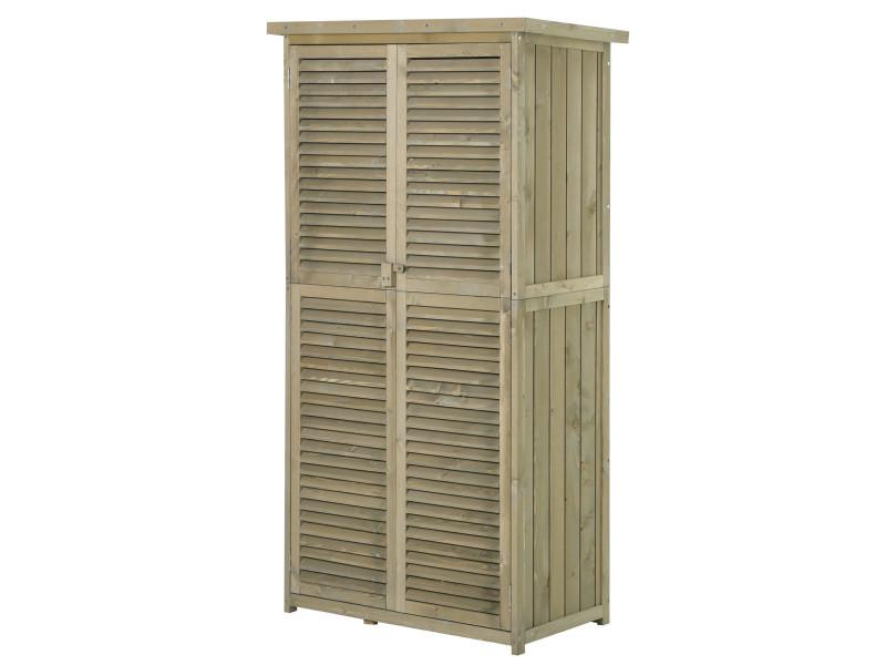 Armoire de jardin abri jardin remise pour outils sur pied dim. 87l x 47l x 160h cm 2 étagères portes persiennes toit bitumé étanche bois pin autoclave vert