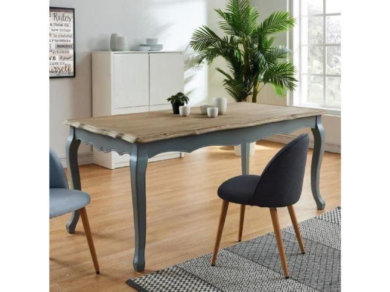 Table a manger seule romance table a manger de 6 a 8 personnes classique placage bois paulownia + pieds bois gris - l 180 x l 90 cm