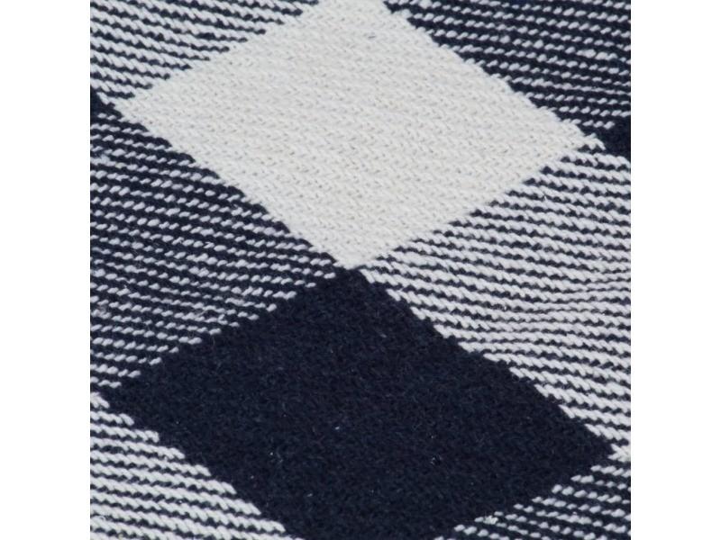 Icaverne - couvertures ligne couverture coton carreaux 220 x 250 cm cm bleu marine