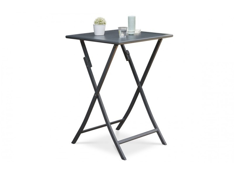 Table haute de jardin marius pliante anthracite - Vente de HOUSE AND ...