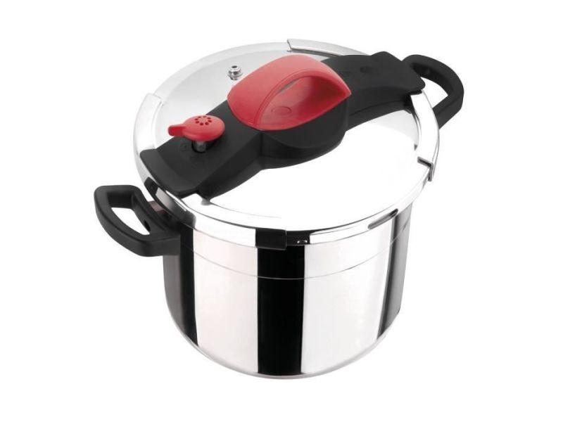 Autocuiseur - cocotte minute autocuiseur sitrapro avec panier vapeur - 10 l - ø 24 cm - gris, rouge et noir - tous feux dont induction