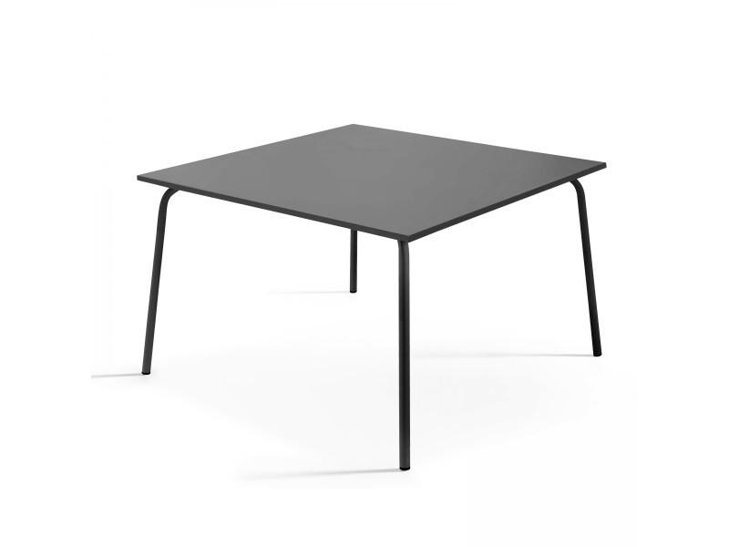 Table en métal, style industriel, 120 x 120 cm, palavas 8 places acier gris