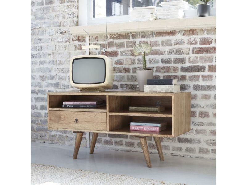 Meuble tv en bois de mindy 110 cm vente de meuble tv for Meuble tv 110 cm fly