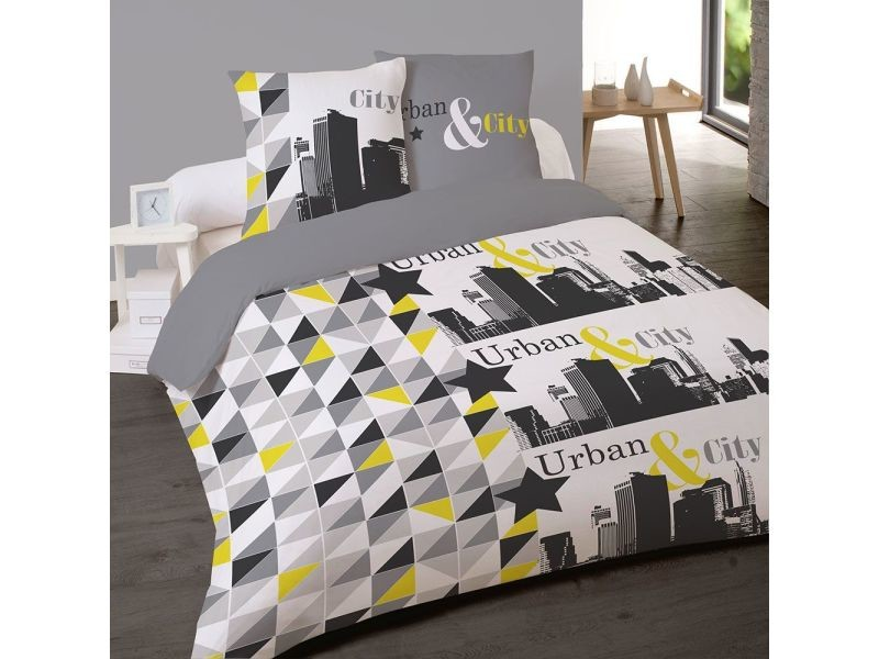 housse couette 220x240 2 taies city vente de les douces nuits de mae conforama. Black Bedroom Furniture Sets. Home Design Ideas