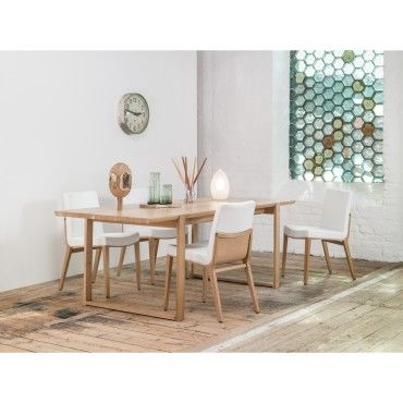 Lot de 4 chaises ch ne moritz cuir blanc vente de chaise for Chaise cuir blanc conforama