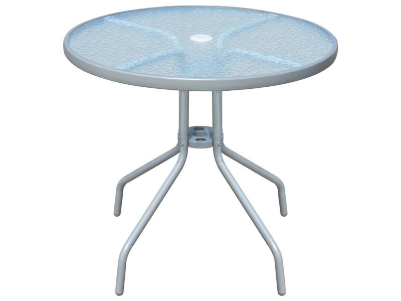 Vidaxl table d'extérieur ronde 80 x 71 cm acier gris 43316