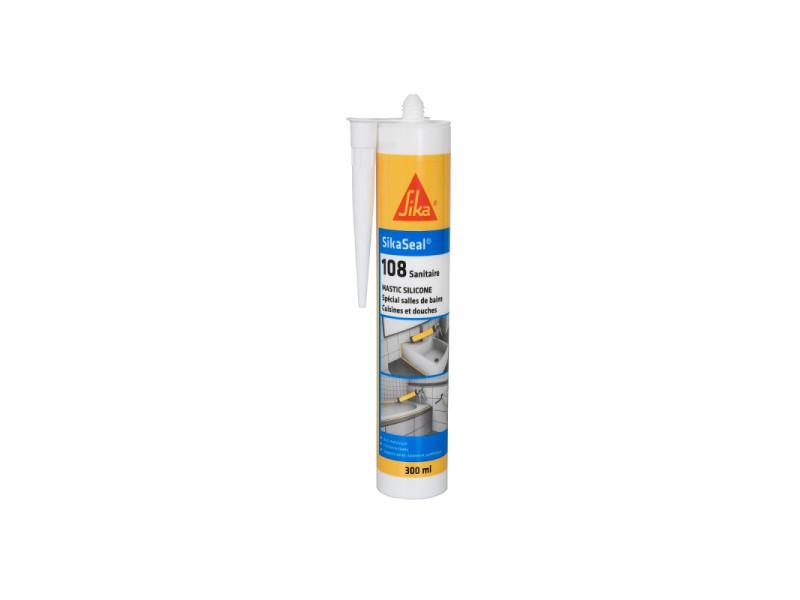 Mastic silicone anti-moisissure sika sikaseal 108 sanitaire - gris clair - 300ml 526792