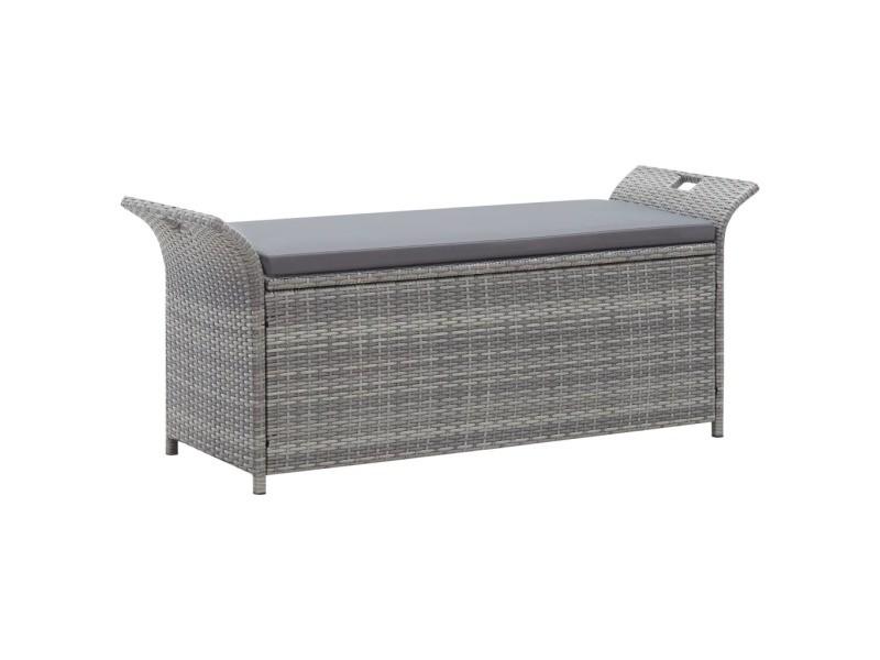 Vidaxl banc de rangement avec coussin gris 138 cm résine tressée 45809