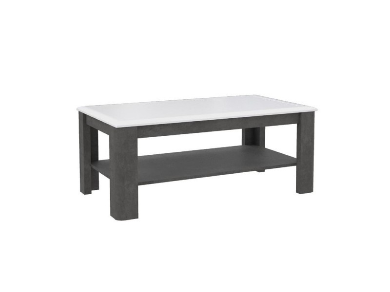 Table basse rectangulaire bois blanc et gris - calvi